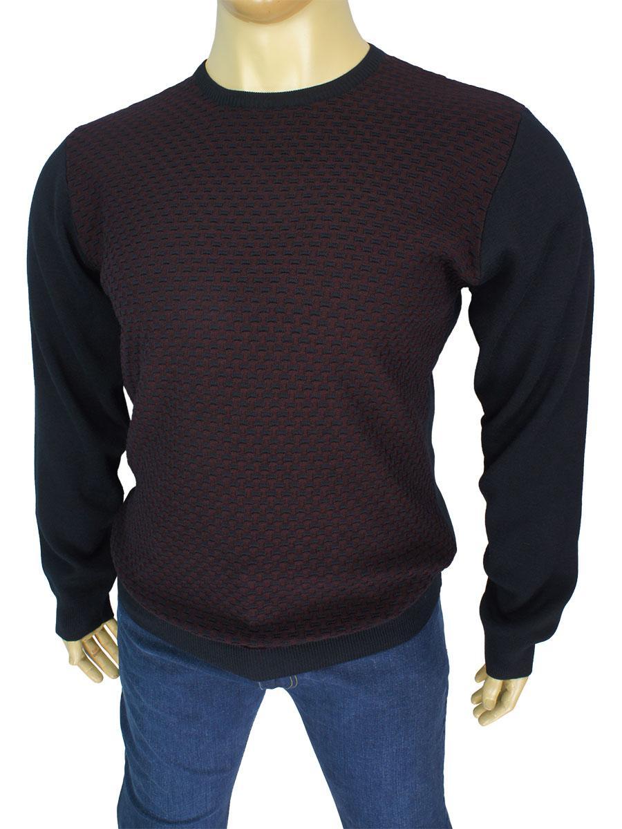 Оригинальный мужской свитер Yamak 1101 B d-blue большого размера