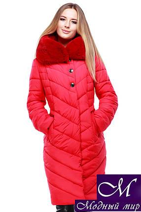 Женское стеганое зимнее пальто р. 44-58 арт. Мария алый, фото 2