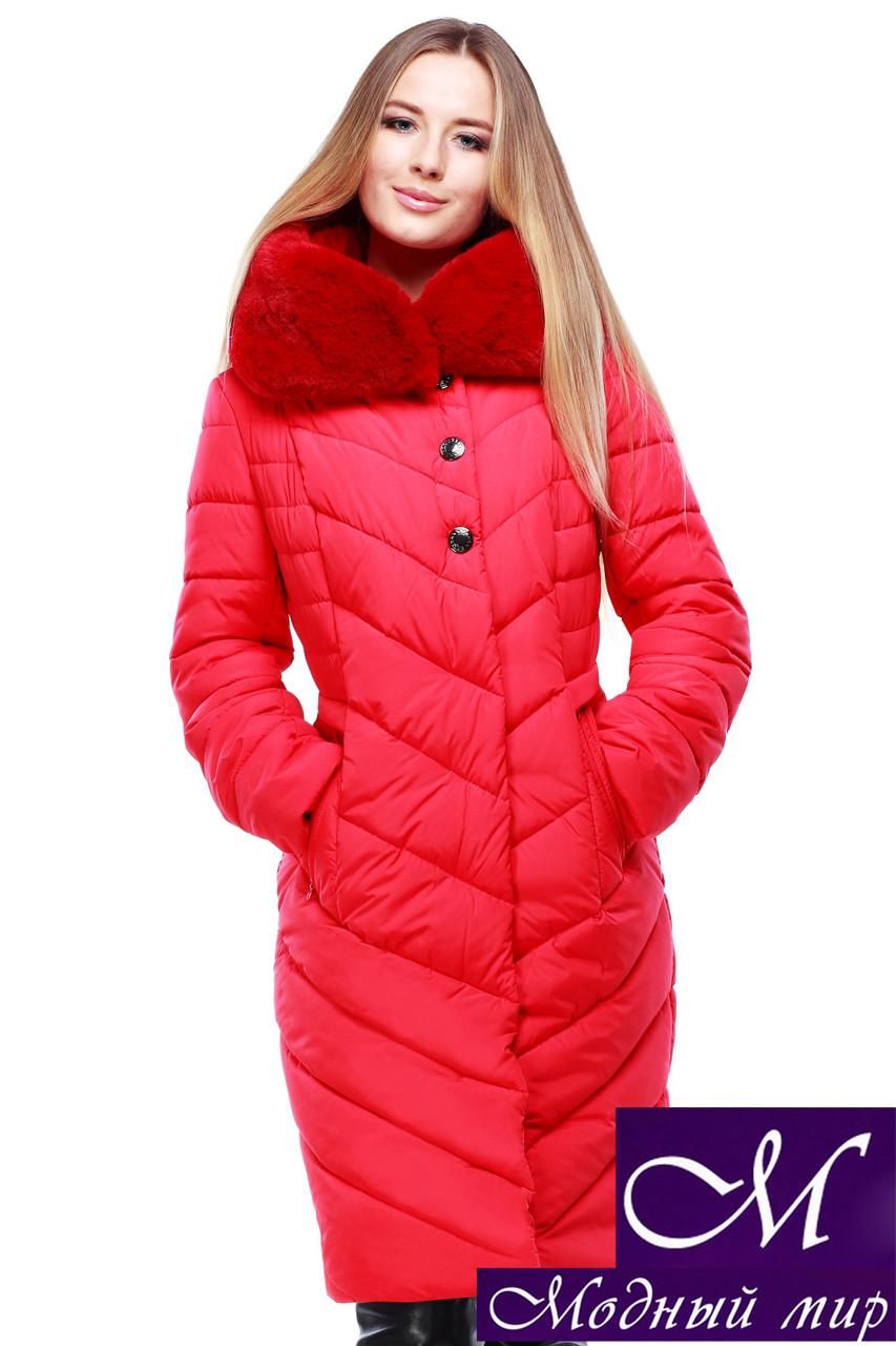 Женское стеганое зимнее пальто р. 44-58 арт. Мария алый