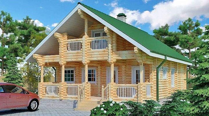 Дом из оцилиндрованного бревна 11х10 м