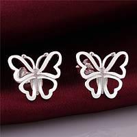 Сережки Бабочки покрытие 925 серебром проба