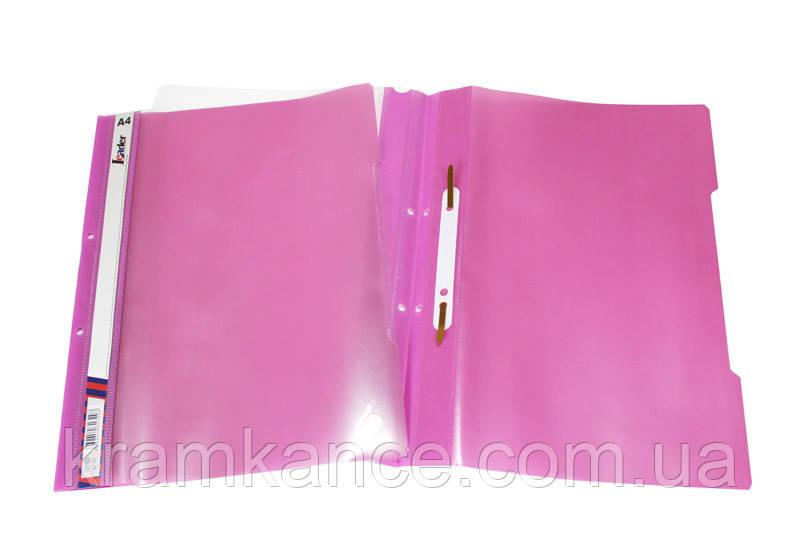 Скоросшиватель пластик. А4 Leader SK320-1 розовый