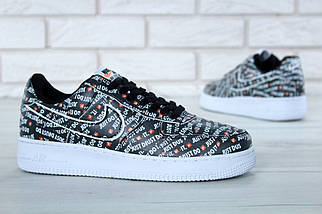 Мужские кроссовки Nike Air Force 1 Low Just Do It Pack Black / реплика (1:1 к оригиналу), фото 3