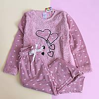 Детская пижама травка девочке розовая Звездочки, Сердечки Турция размер 9-10
