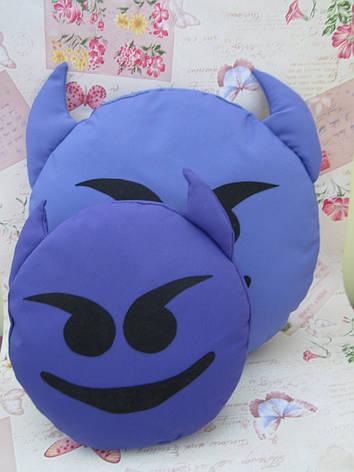 Подушка-смайлик Чертик Emoji Smile КОМПЛЕКТ (большая+маленькая) №23, фото 2