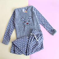 Детская пижама травка флис девочке Серая Турция размер 7-8