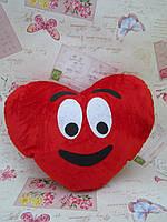 Декоративная подушка-сердце из велюра красного цвета Emoji #26