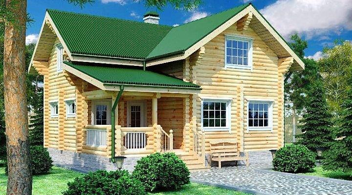 Дом из оцилиндрованного бревна 8х9 м