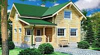 Дом из оцилиндрованного бревна 8х9 м , фото 1