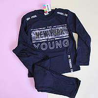 Детская пижама мальчику интерлок темно-синий Турция размер 6