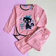 Детская пижама девочке интерлок персик Турция размер 1