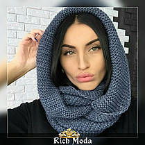 Женский теплый вязаный шарф хомут, фото 3