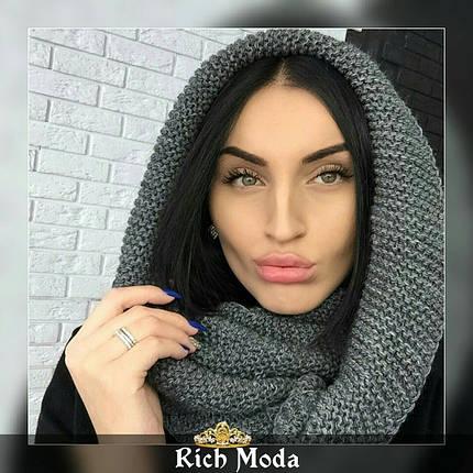 Женский теплый вязаный шарф хомут, фото 2