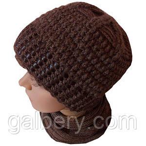 Зимняя шапка с кожей