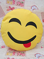 Большая желтая подушка-смайлик Emoji #b-7 Весельчак Smile
