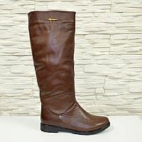 Сапоги-трубы женские кожаные демисезонные коричневого цвета. 41 размер