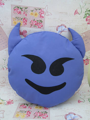 Большая подушка-смайлик Emoji #b-23 Чертик Smile, фото 2