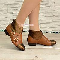 Кожаные коричневый женские демисезонные ботинки на невысоком каблуке. Размеры 37-41