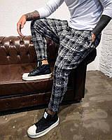Мужские штаны в клеточку брюки  XL
