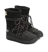 Сноубутсы женские черные, луноходы (moon boot) Vices T067-1