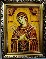 Икона с янтаря Семистрельная Божией Матери 30х40 см