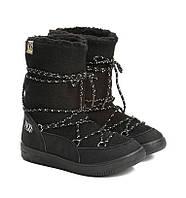 Женские сапоги луноходы обувь с мехом сноубутсы Moon boots угги интернет магазин черные Vices T066-1