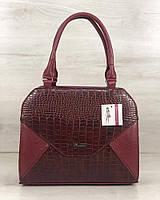 Бордовая сумка 31816 саквояж деловая небольшая каркасная конверт, фото 1