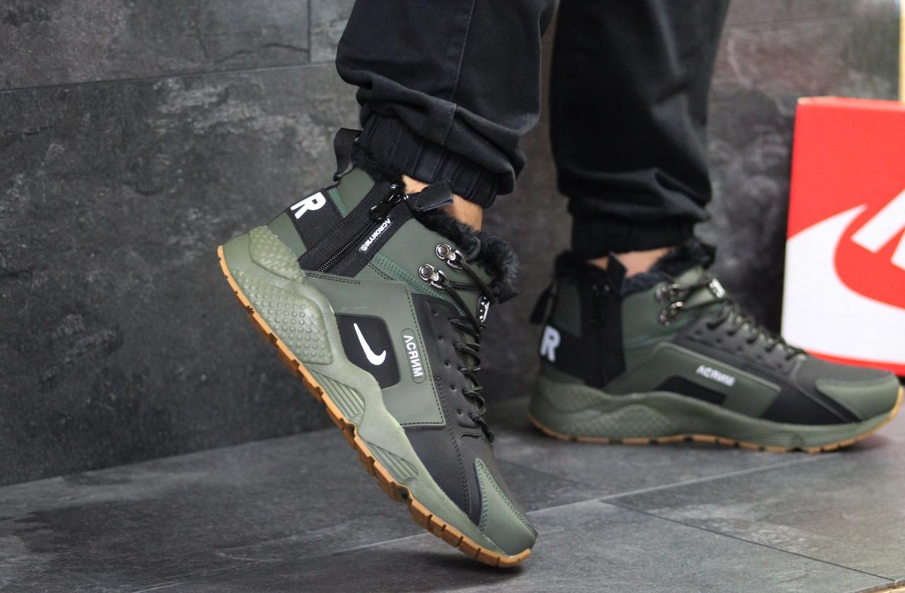 Кроссовки мужские Nike Huarache зимние на меху молодежные теплые, кожа нубук  (зеленые), ТОП-реплика