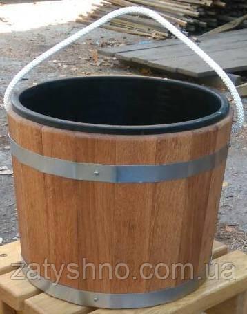 Ведро дубовое на 16 литров со вставкой для бани и сауны