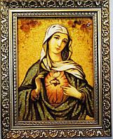 Икона с янтаря Богородица 20х30 см