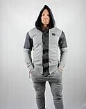 Стильный спортивный серый костюм для мужчин, фото 4