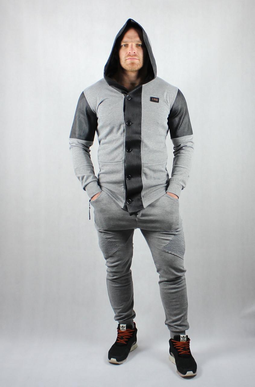Стильный спортивный серый костюм для мужчин