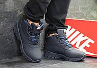 Ботинки мужские Nike Lunarridge кожаные зимние теплые на меху повседневные в синим цвете, ТОП-реплика
