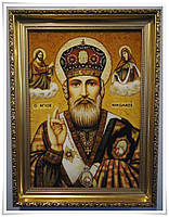 Икона с янтаря именная Николай 40х60 см