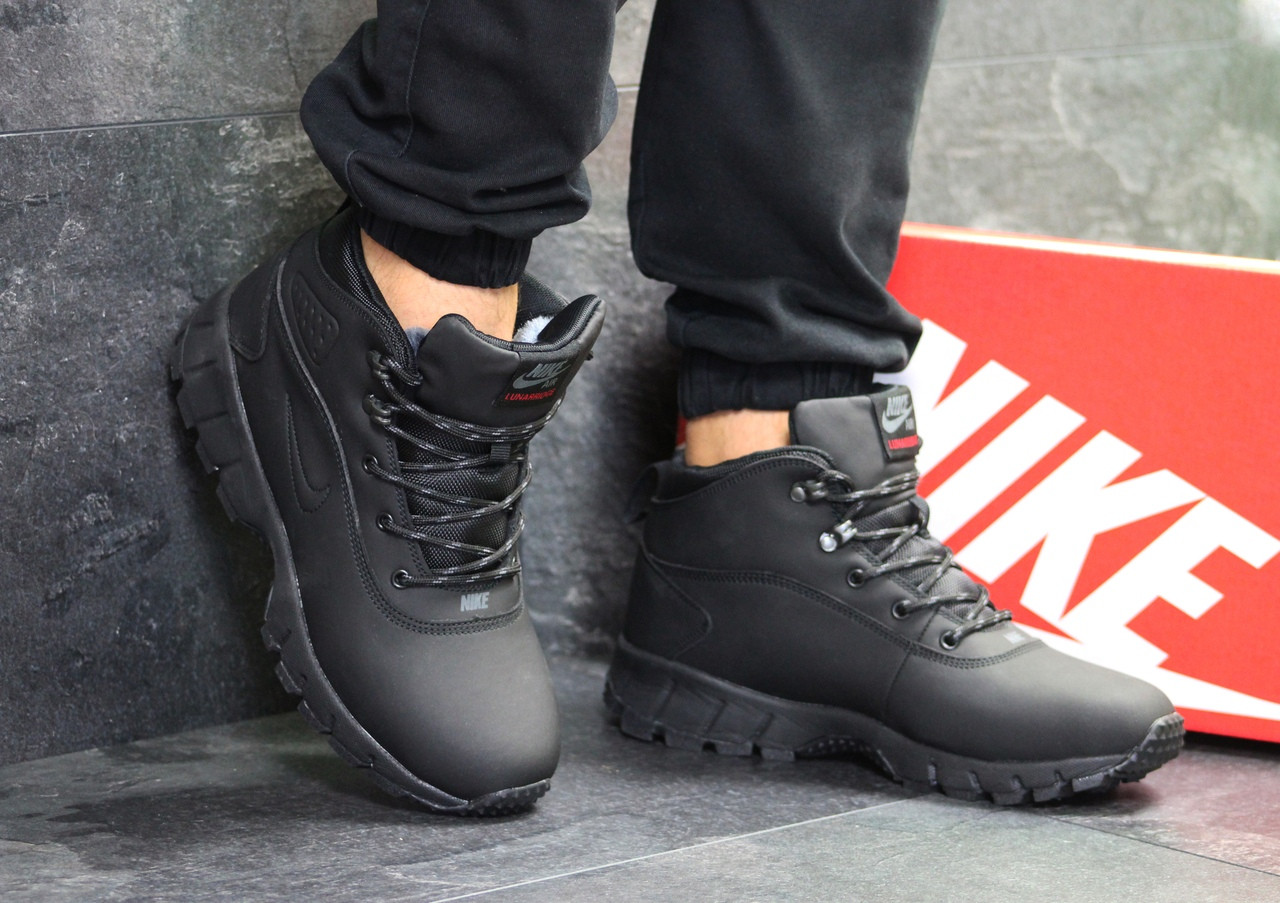d1a0fb49 Ботинки мужские Nike Lunarridge кожаные зима высокие на шнуровке на меху  под джинсы (черные)
