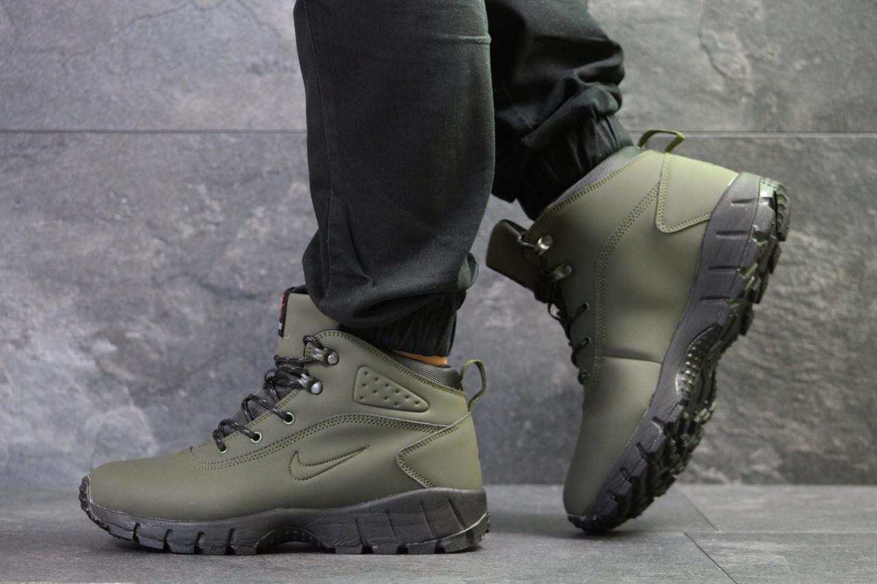 d4dfe6d2 Ботинки мужские Nike Lunarridge зима высокие на шнуровке на меху под джинсы  нубук+пена (