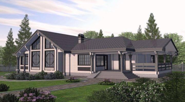 Дом деревянный двухэтажный из профилированного клееного бруса 15х25 м