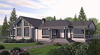 Дом деревянный двухэтажный из профилированного клееного бруса 15х25 м, фото 1