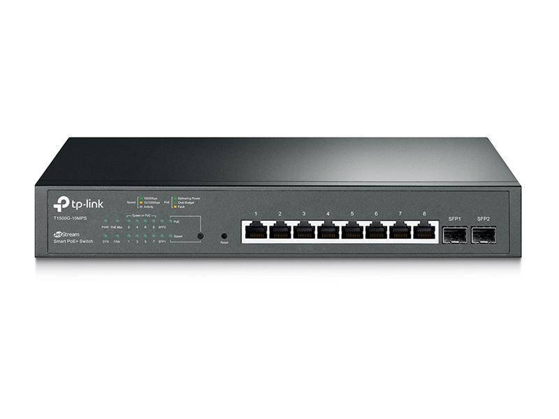 Коммутатор TP-Link T1500G-10MPS JetStream™(8*GE PoE+, 2*SFP, max 116Вт, Web Smart)
