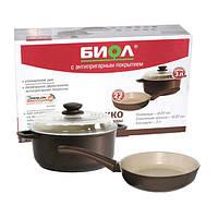 Набор Посуды Биол Мокко (сковорода 22 см и кастрюля 3л) с бежевым покрытием М22ПС