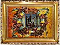 Картина с янтаря Герб Украины 30х20 см