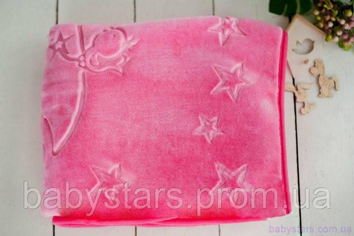 Махровый детский плед для ребенка (140х100), Розового цвета