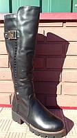 Высокие женские модные кожаные сапоги на низкой платформе.р.37.38.41.. 38