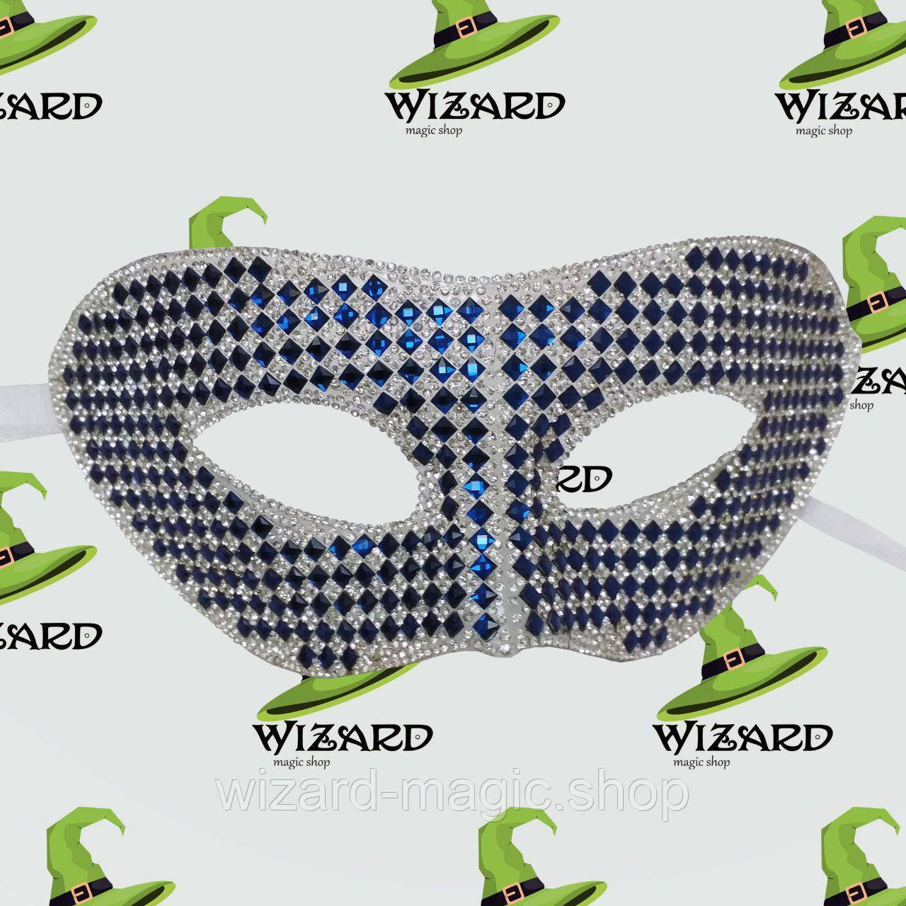 Венецианская маска из кристаллов синяя
