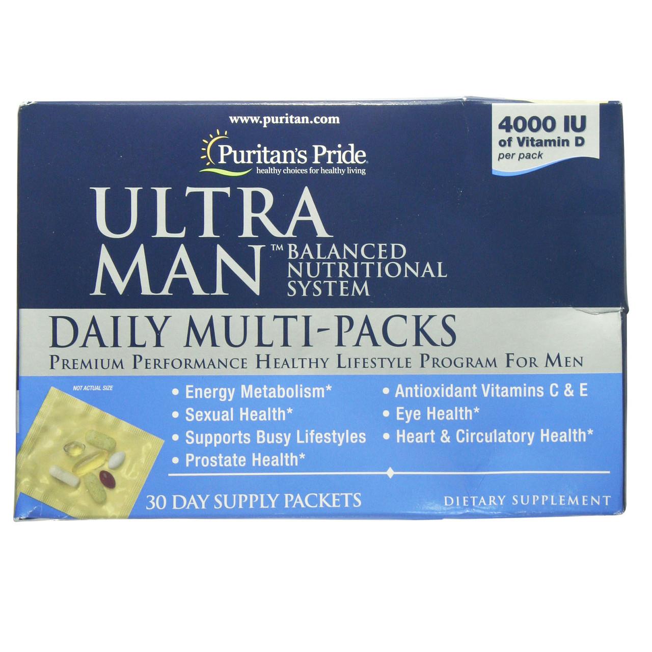 Витамины для мужчин Ultra Man™ Daily Multivitamins Packs, Puritan's Pride, 30 капсул