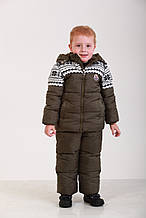 Детский зимний комбинезон для мальчика,76 XAKI 100 см, Хаки
