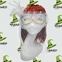 Венецианская маска с вуалью (белая)