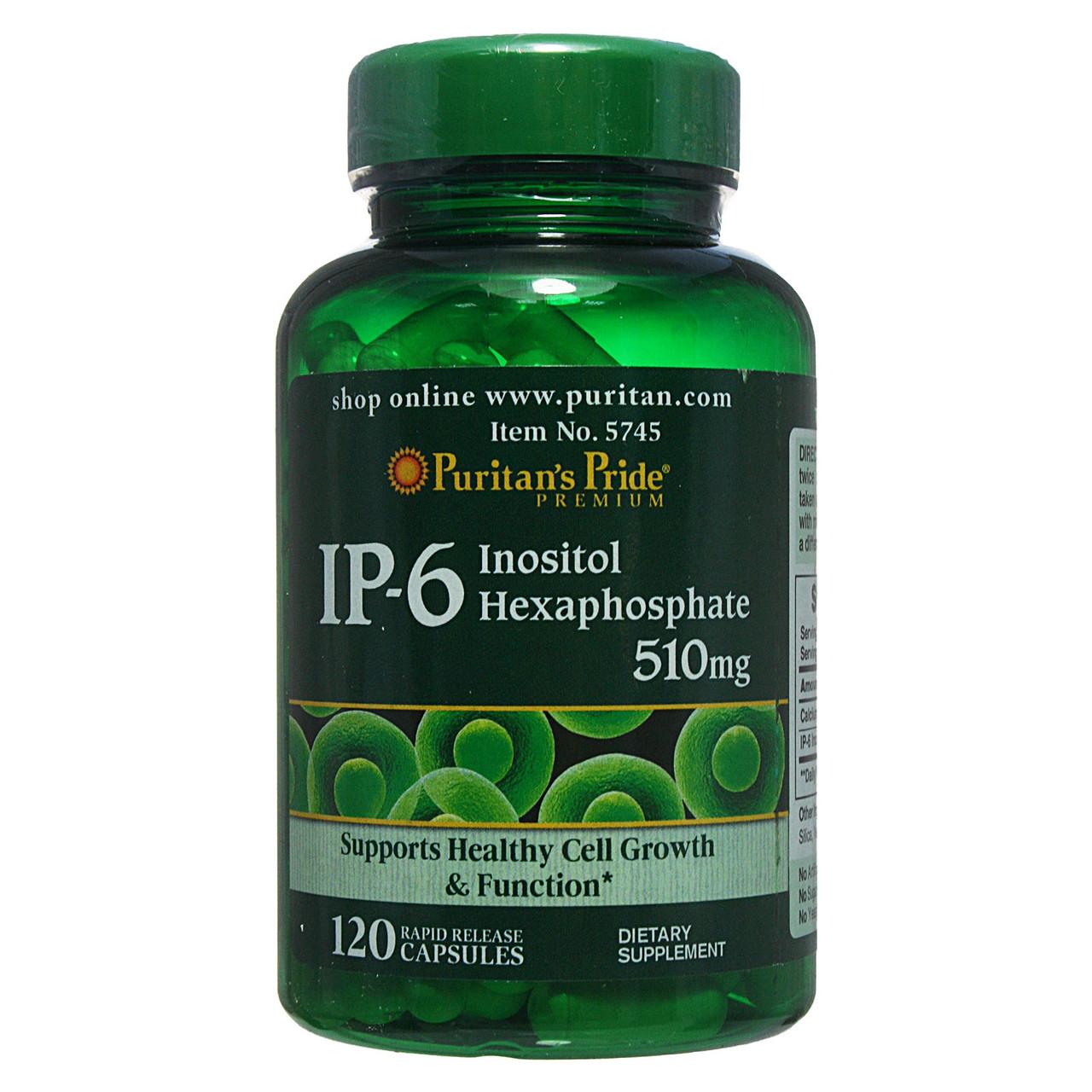 Інозитол, IP-6 Inositol Hexaphosphate 510 mg, Puritan's Pride, 120 капсул