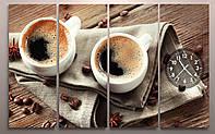 Картина модульная часы Кофе