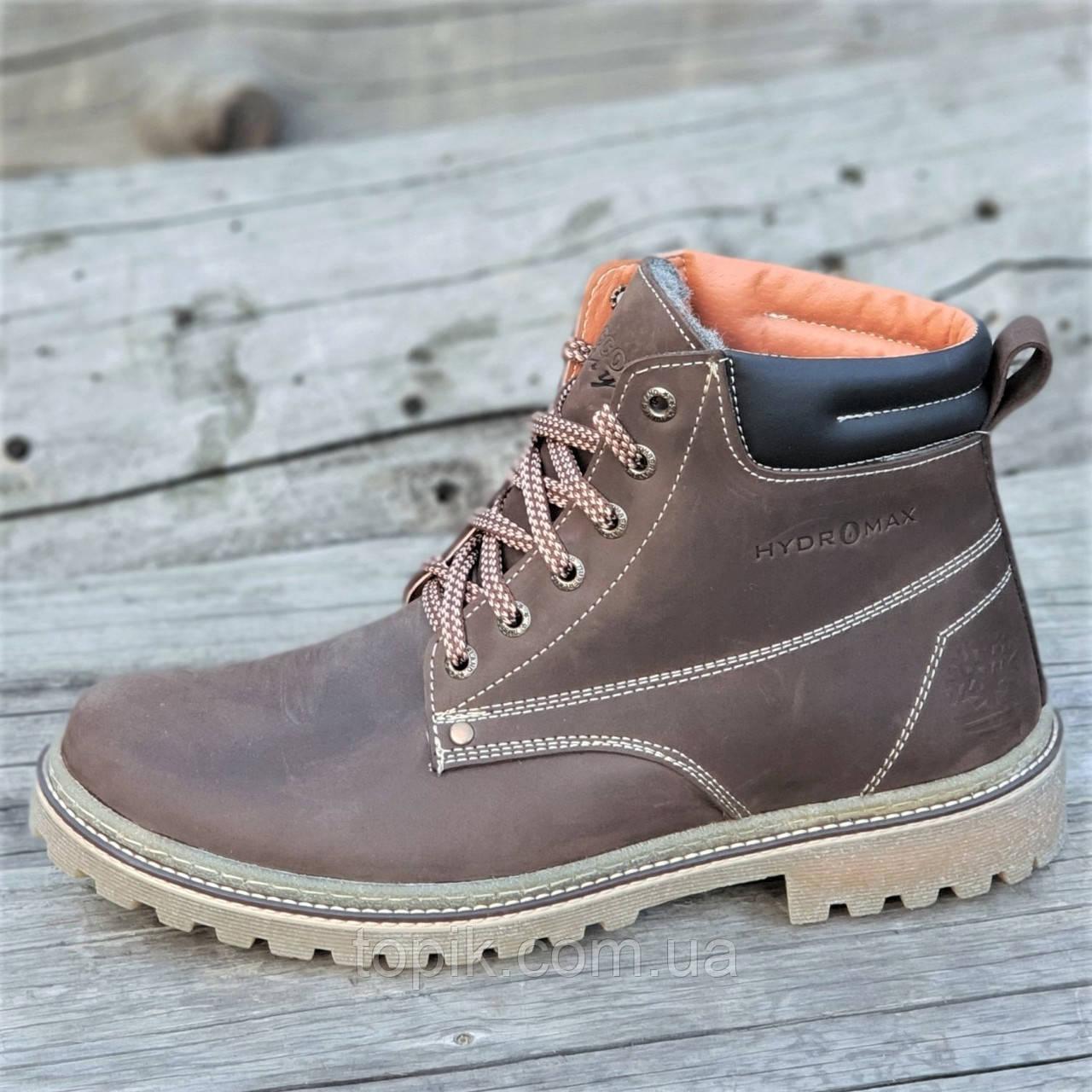 Стильные зимние кожаные ботинки мужские коричневые натуральный мех на полиуретановой подошве (Код: 1280)